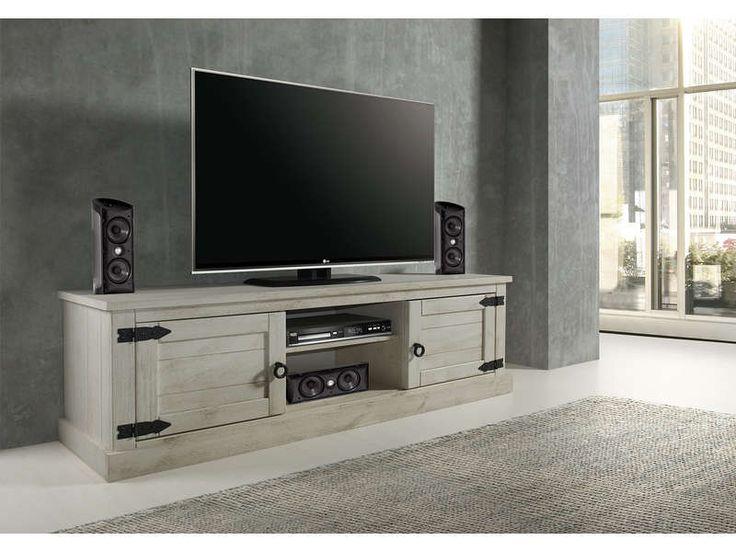 Meuble TV 2 portes+2 niches en pin massif blanchi