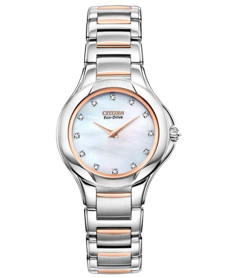 Citzen Women's Eco-Drive Signature Fiore Diamond Accent Two Tone Stainless Steel Bracelet Watch 30mm EX1186-55D