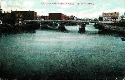 Cedar Rapids Iowa IA 1906 Second Avenue Bridge Antique Vintage Postcard