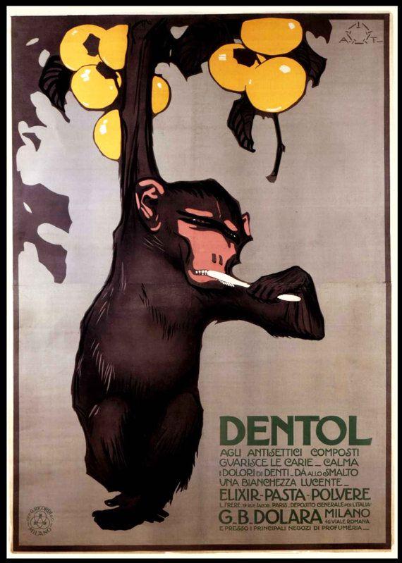 poster+salle+de+bain+singe+dentol