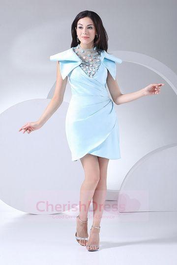 Cowl Sheath/Column Asymmetrical Satin Prom Dress with Ruffles OCCASION DRESSES