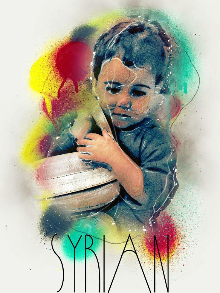 Foto ritoccata di bambino in Centrale con una sorella e la madre incinta di tre mesi provenienti dalla Syria.