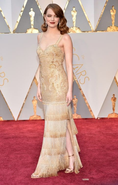 Emma Stone in Givenchy at the 2017 Oscars. She nailed the 1920s look!