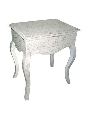 -45,800% OFF Mili Designs 1 Drawer French Style Bone Inlay Bedside, White/White