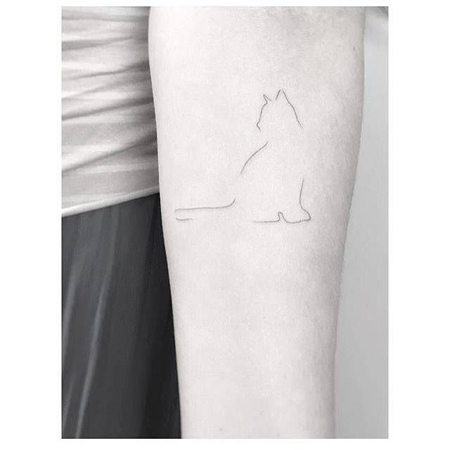 Minimalist cat tattoo on the inner forearm. Tattoo artist: Jakub Nowicz