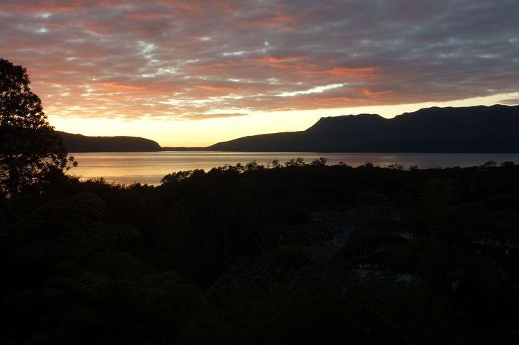 Sunrise in our little corner of paradise. Lake Tarawera, Rotorua, New Zealand.