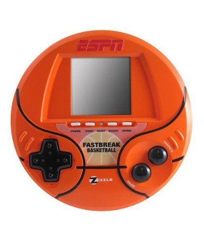 Espn Hand Held Fastbreak Basketball Game by Zizzle. $29.99. Ages 5+. Requires 3 AAA Batteries Not Included. Features real voices, sound effects, and the ESPN sports center music! All the fast break slam dunk action of real basketball. Play a 4 quarter game or play to 21! Practice your downtown shooting in the 3-point contest!