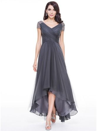 A-Line/Princess V-neck Asymmetrical Ruffle Beading Sequins Zipper Up Short Sleeves No Steel Grey General Plus Tulle Height:5.7ft Bust:34in Waist:23in Hips:35in US 2 / UK 6 / EU 32 Mother of the Bride Dress