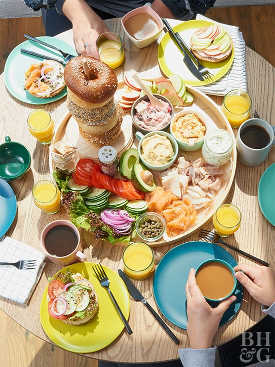 The easiest recipe for morning entertaining? Buy a stack of bagels, set out a spread of toppings, and brew some coffee. We're sharing our best brunch ideas, including self-serve toppers and spreads. Plus, get our recipe for the ultimate cup of coffee. #breakfast #brunch #entertaining #bagels
