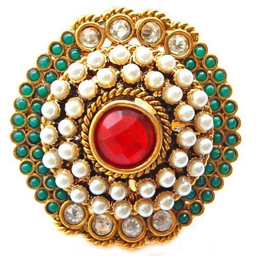 Maayra Golden Green Moti Ethnic Finger Ring - Online Shopping for Earrings by Maayra