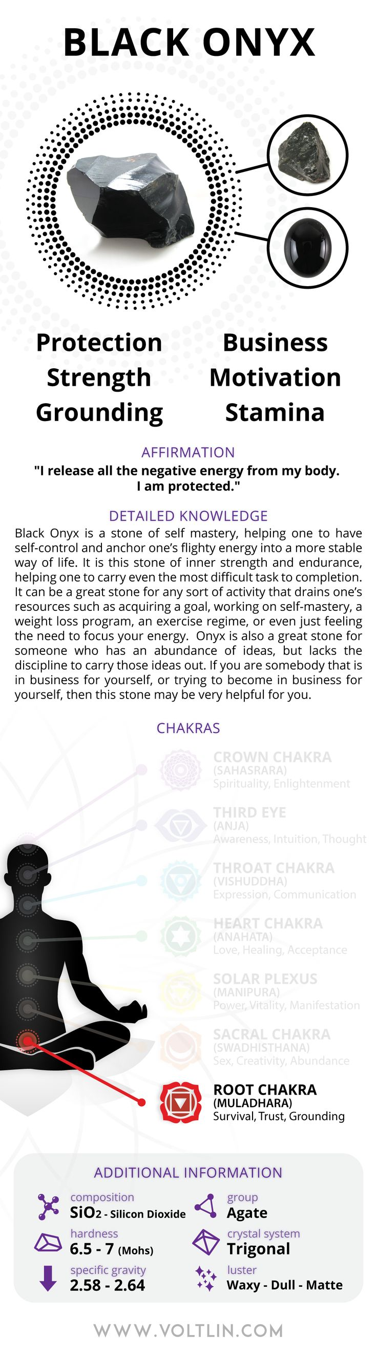 Express Shipping: 2-6 days (ships out within 1 business day) Warranty: Free repairs for up to 6 months Description Black Onyx is a stone of self-mastery, helping one to have self-control and anchor on