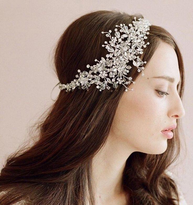 Fashion Wedding Decoration Hair Clip Vintage Crystal Wedding Headband Rhinestone Flower Bridal Headdress Women Accessory