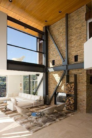 Steel beams and a stone wall