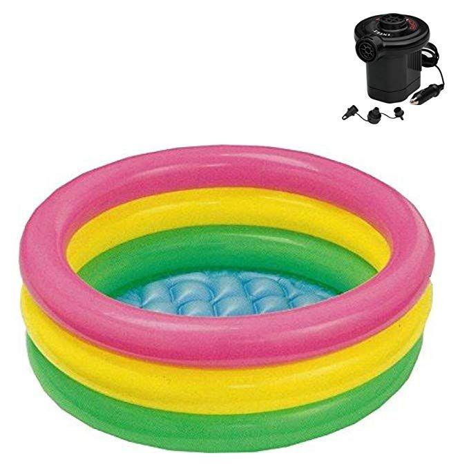 Intex Sunset Glow Baby Pool 34 In X 10 In Pool With Pump Review Baby Pool Kiddie Pool Intex