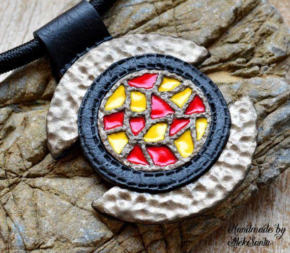 Mosaic pendant Mosaic necklace Polymer clay by HandmadeByAleksanta