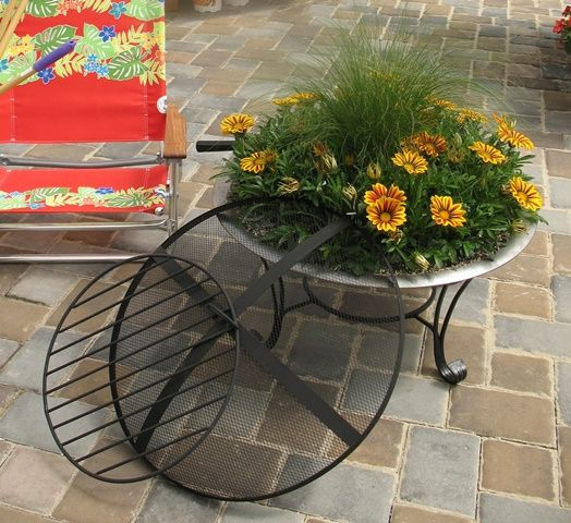 Upcycled Fire Pit As Container Garden Container