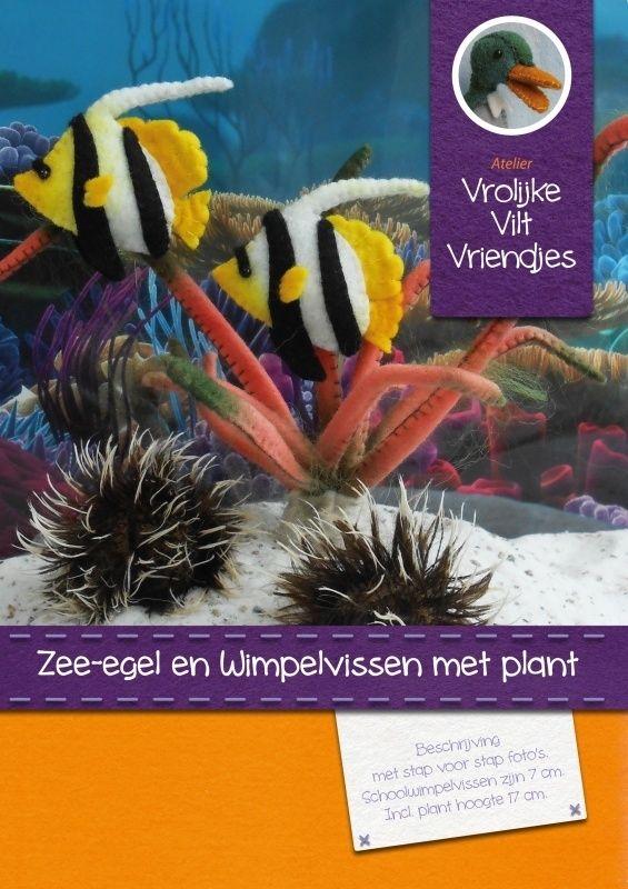 Wimpelvissen, zee-egels en plant | Dieren | Atelier Vrolijke Vilt Vriendjes