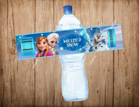 FROZEN Water Bottle Label, Disney Frozen Water Label, Frozen Party, Instant Download, Printable File.