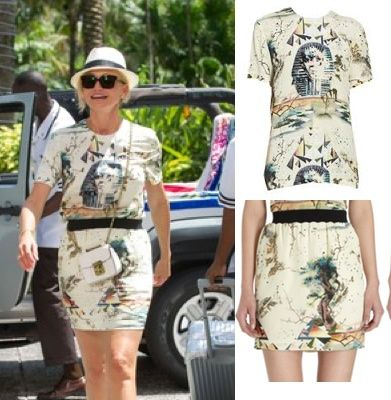 The Other Woman Movie: Carly's (Cameron Diaz) Balenciaga Sphinx Print Tee and Sphinx Print mini skirt