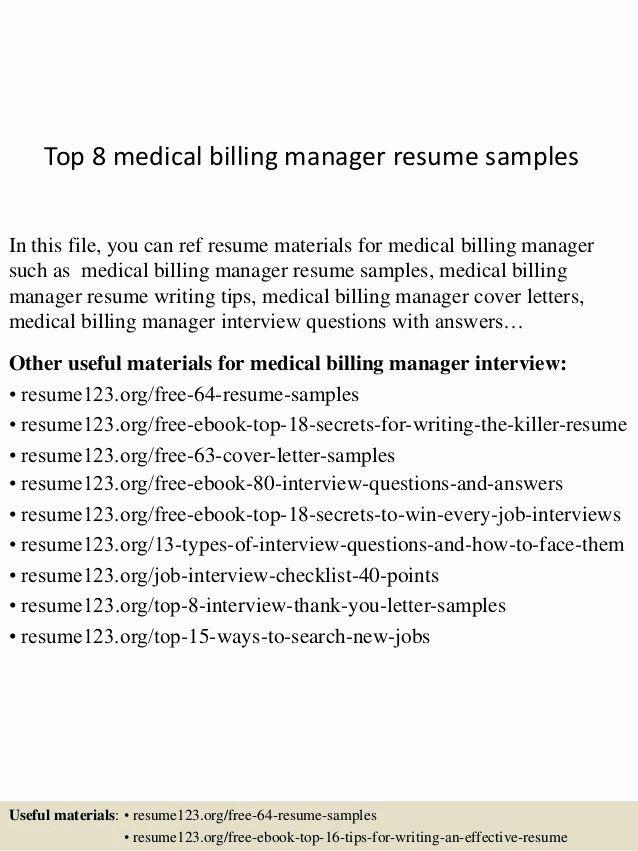 Medical Biller Resume Examples Inspirational Top 8 Medical Billing Manager Resume Samp Medical Assistant Resume Cover Letter For Resume Architect Resume Sample