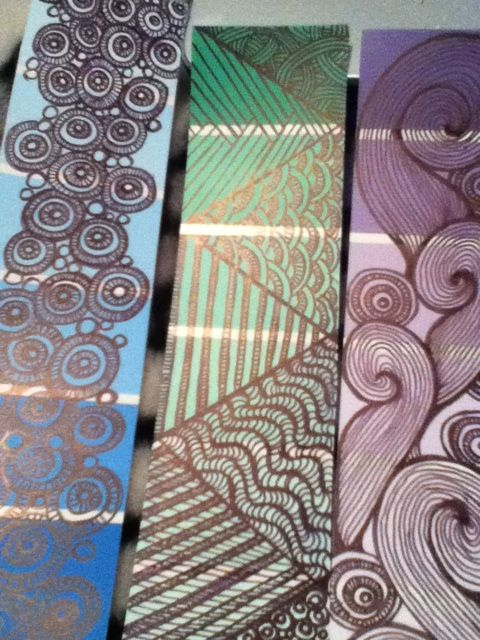 doodled color paint samples to use as book marks.  my own  Lisa M  2014