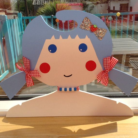 Childrens Clothes Hanger with Blue Hair and Pigtails by Daisymooo