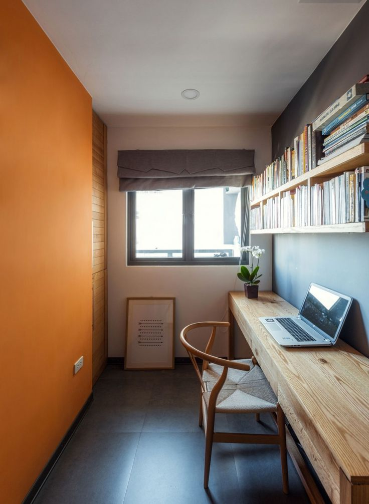 Apartment: Interesting ML Apartment in Hanoi, Vietnam Designed by Le Studio, Good-looking Workspace Design from ML Apartment by Le Studio Featuring Long Wooden Desk and Chair and Wall Mounted Bookshelves and Three-Tone Wall Paint Color