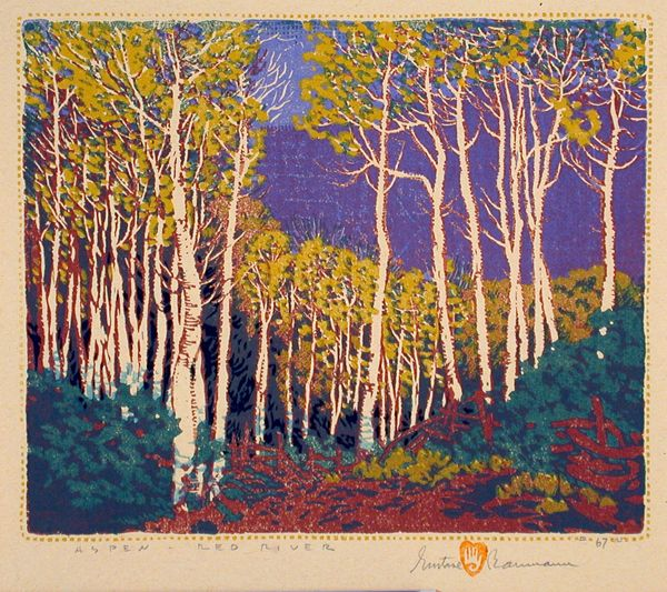 Gustave Baumann / Aspen - Red River / 1924 / color woodcut