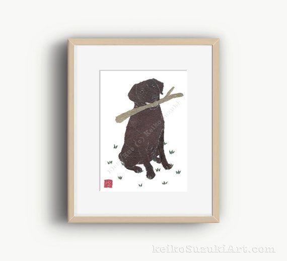 Chocolate Lab Art Matted Print Dog Portrait Chocolate