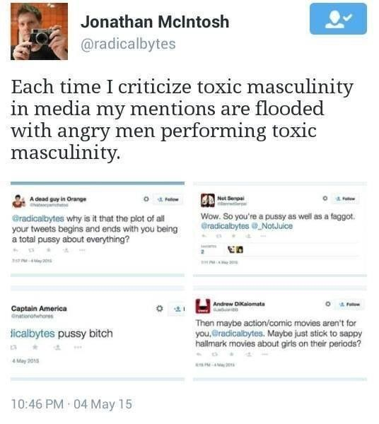 Jonathan McIntosh: Each time I criticize toxic masculinity in media my mentions are flooded with angry men performing toxic masculinity.