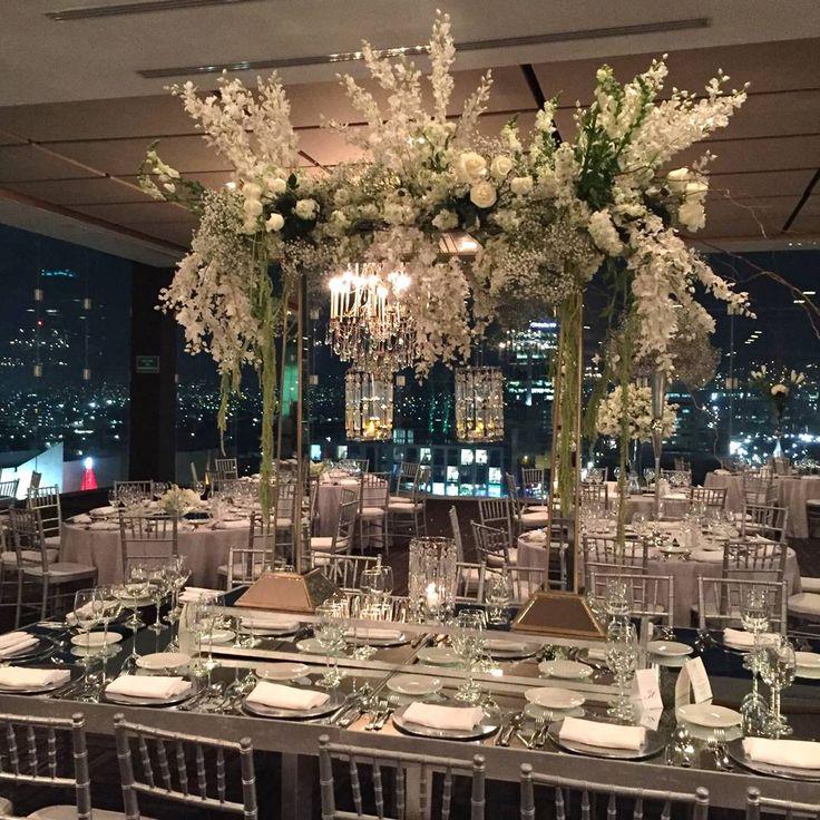Stunning long table wedding centerpiece