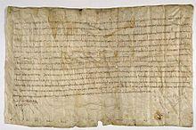 Confirmation des privilèges d'immunité accordés à l'abbaye de St-Denis, 716 (Archives nationales)- CHILPERIC II. 1) BIOGRAPHIE, 8: Durant son règne, Chilpéric établit un diplôme daté du 29 décembre 716, où il confirme les privilèges d'immunités accordés par ses ancêtres à l'abbaye de St-Denis. Entre 719 et 720, lors de son séjour à la cour du duc d'Aquitaine à Toulouse, Chilpéric fait proclamer par sa chancellerie un Edictum, qui fut inséré à la suite de la loi salique.