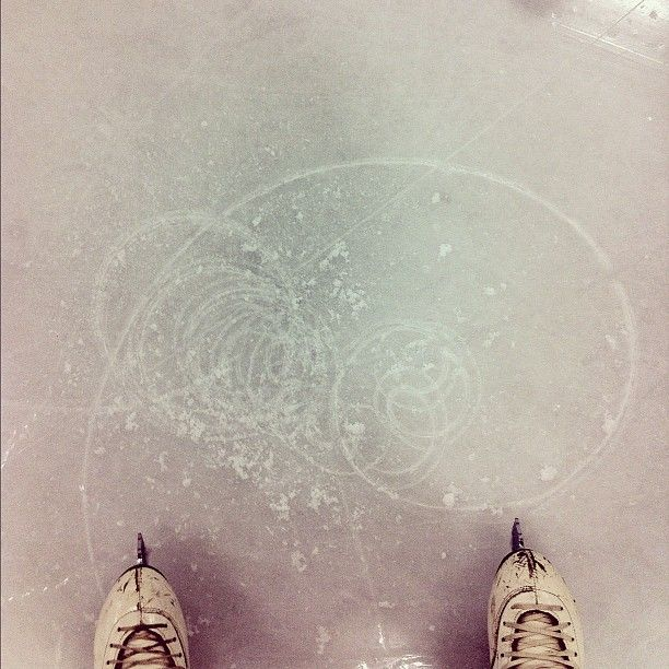Looking at the spin patterns you make on the ice and measuring distance jumped from take-off to landing :~)