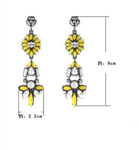 Hot-Fashion-Charm-Nice-Yellow-Resin-Rhinestone-Water-Drop-Stud-Dangle-Earrings