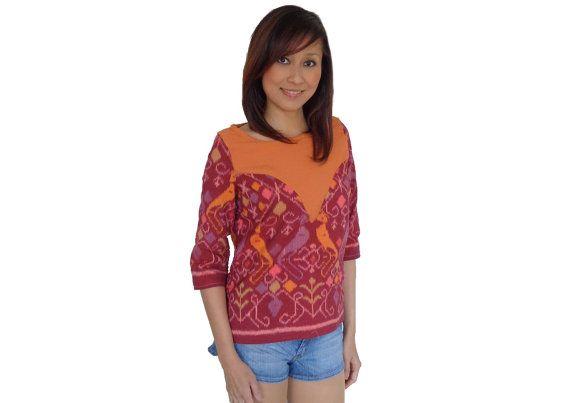 Brand New. Handmade Woven Top Blouse Orange. by SignatureofNana