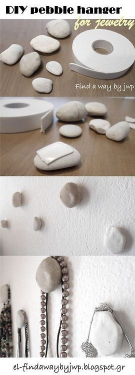 DIY colgador de collares y pulseras con piedras