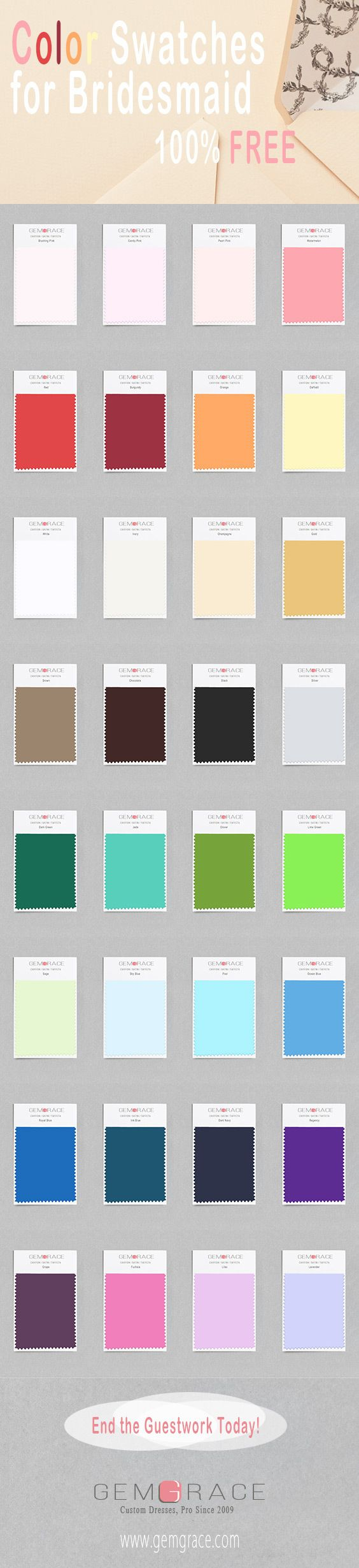 44 best free color swatches for dresses images on pinterest end the guesswork we recommend ordering fabric swatches to make your color decision easier ombrellifo Image collections