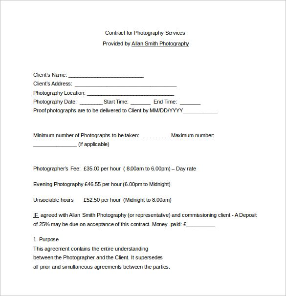 Contract for Photography Services Word Free Download