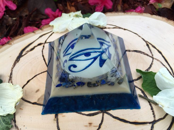 Orgone Energy Orgonite Pyramid - EYE OF HORUS - Lapis, Sodalite, Nuummite, Selenite, Black Tourmaline, Copper, Glow in the Dark by 432oneness on Etsy