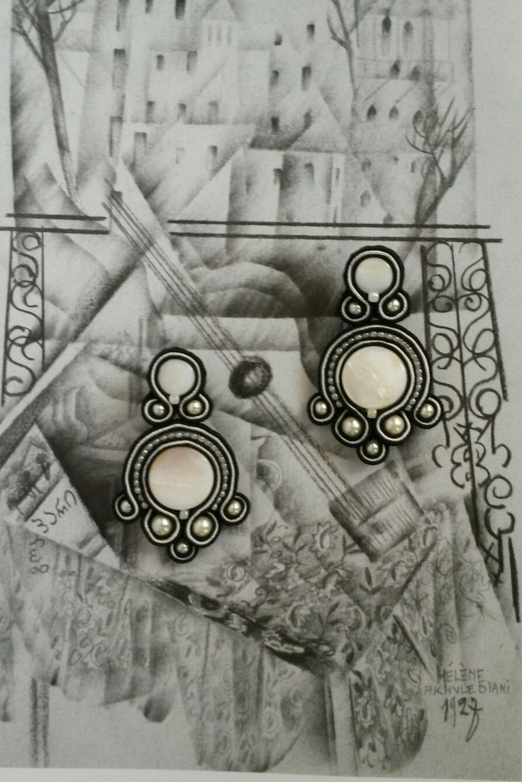 #Soutache earrings #blackandwhite