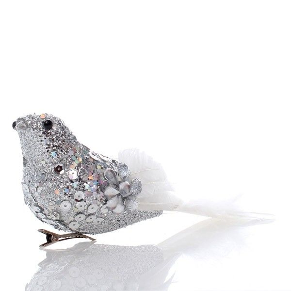 Sequin and Feather Dove Clip
