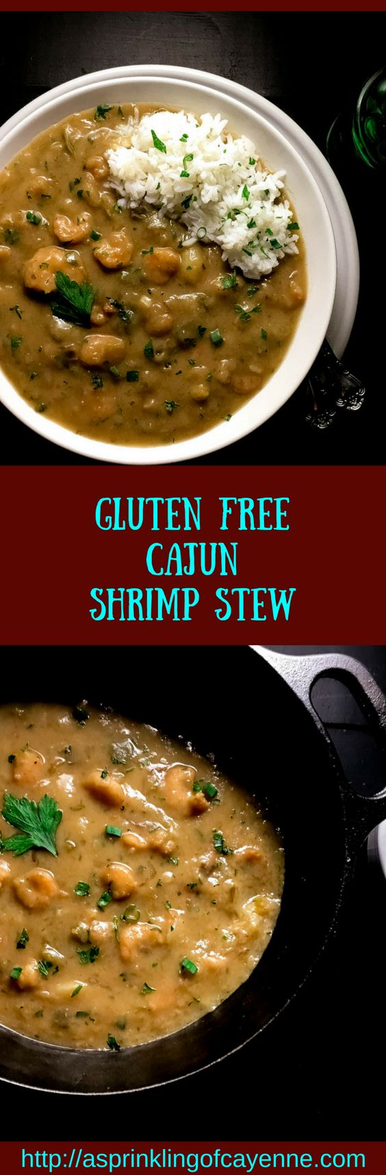 Gluten Free Cajun Shrimp Stew. Authentic taste and texture my Trinity Roux™. Classic south Louisiana comfort food recipe is Paleo and grain free without rice. Yum-delicious comfort food for family is also oh sooo  company-worthy.   http://asprinklingofcayenne.com