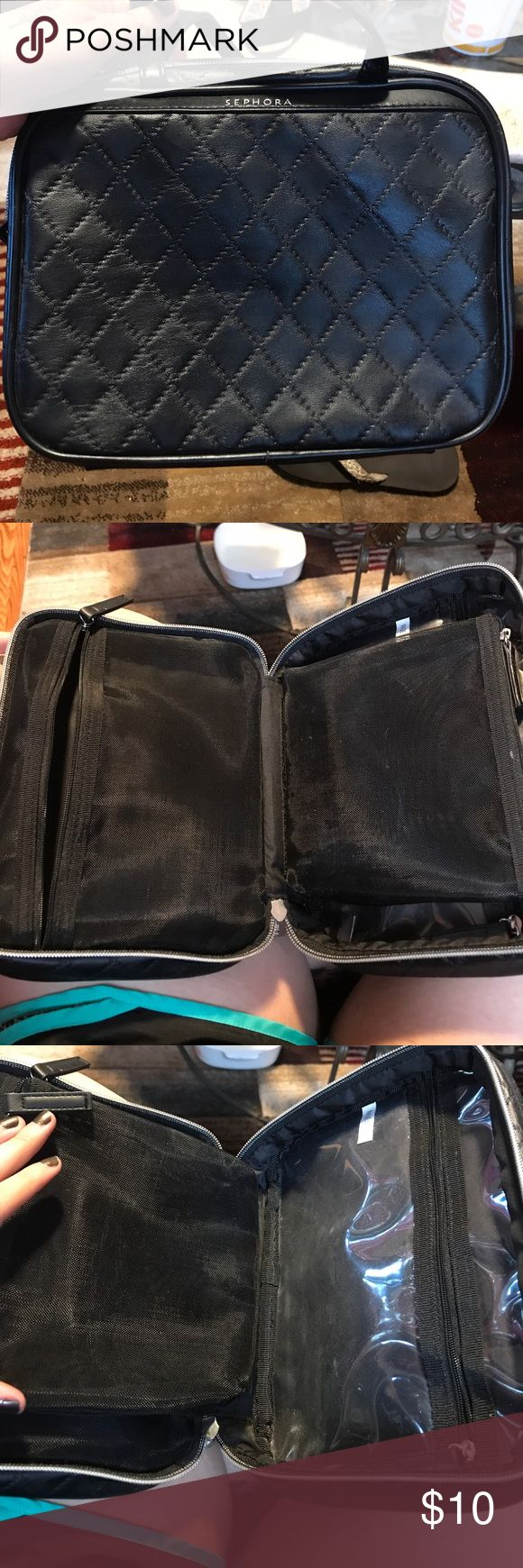 Black sephora makeup travel case Sephora black makeup travel case. Zip closure with 2 mesh compartments and one plastic compartment all with zippers. Only been used once! Sephora Bags Cosmetic Bags & Cases