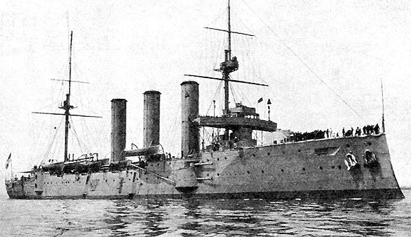 6 in armoured cruiser HMS Kent - in December 1914 part of the fleet that avenged her sister HMS Monmouth (sunk at the Battle of the Coronel) by destroying von Spee's force at the Battle of the Falkland Islands.