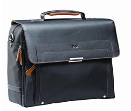 This Executive Computer Bag is made of black and orange leather, has a padded computer compartment and multiple storage pockets that is fully lined. #brandability #corporategifts #laptopbags