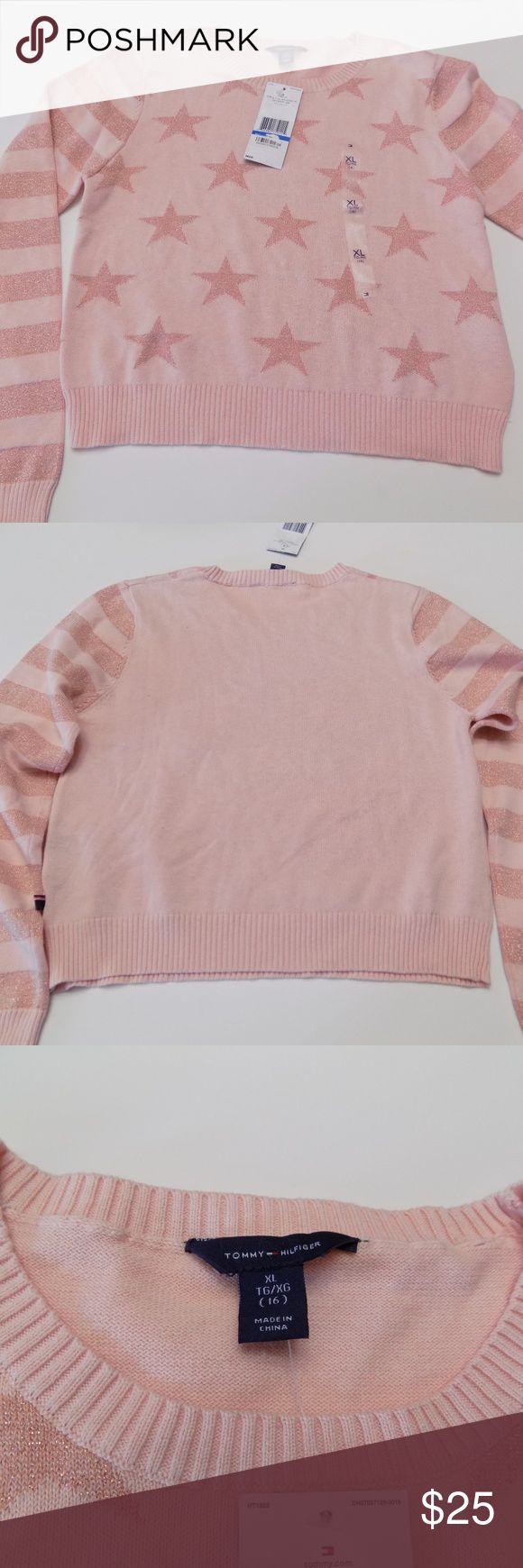 Cute Tommy Hilfiger Girl's Stars Sweater NEW WITH TAG sweater for girls  size 7-16. Pit to pit is approximately 16, neckline to bottom 17.5.  93% Cotton 7% other fibers. Color is MELON. Tommy Hilfiger Shirts & Tops Sweaters