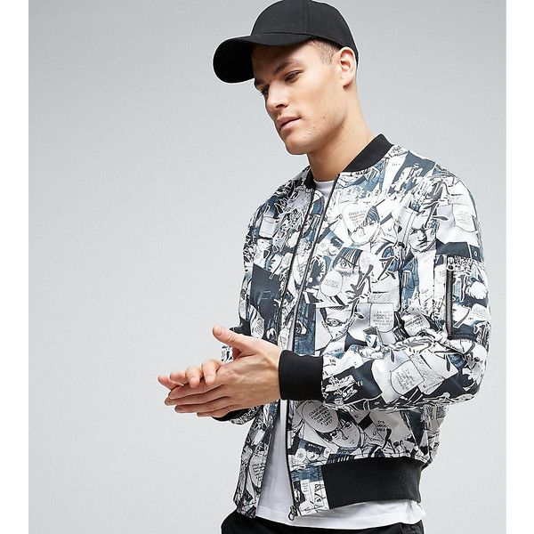 ASOS TALL Bomber Jacket with Black & White Print (£24) ❤ liked on Polyvore featuring men's fashion, men's clothing, men's outerwear, men's jackets, grey, mens tall jackets, mens long bomber jacket, asos mens jackets, mens long jacket and mens zip jacket