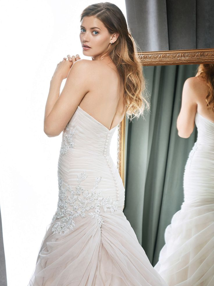 Trending Kenneth Winston Style glamorous wedding dress with crystal accents and assymetrical ruching skirt