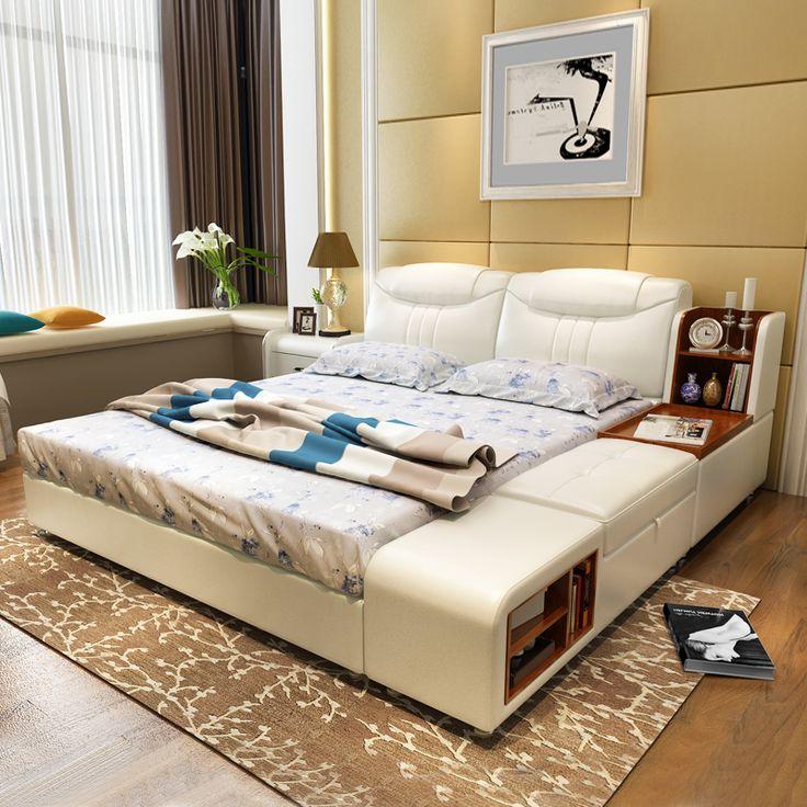 Наборы мебели для спальни современный кожаный кровать хранения кровать кадр с боковой шкаф стул без матраца
