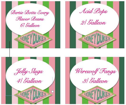 This is an image of Nerdy Honeydukes Free Printable Labels